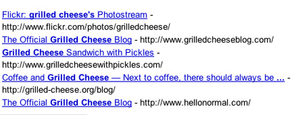 Google BlogSearch Results: Grilled Cheese