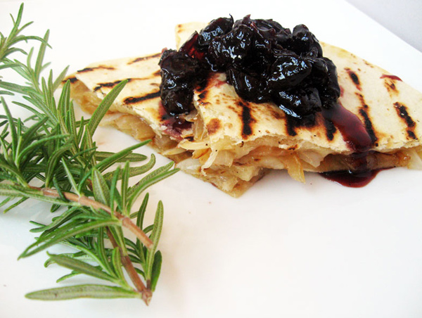 GranQueso & Caramelized Onion Quesadillas with Door County Cherry Chutney