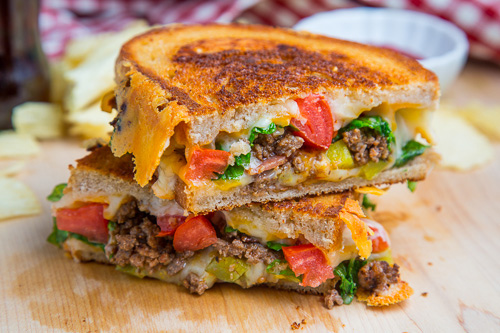 National Grilled Cheese Month 2013 - Bacon Double Cheeseburger Grilled Cheese Sandwich