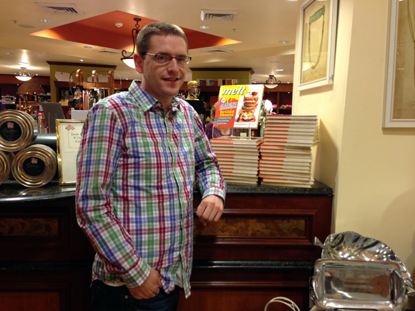 Posing in front my cookbook display.